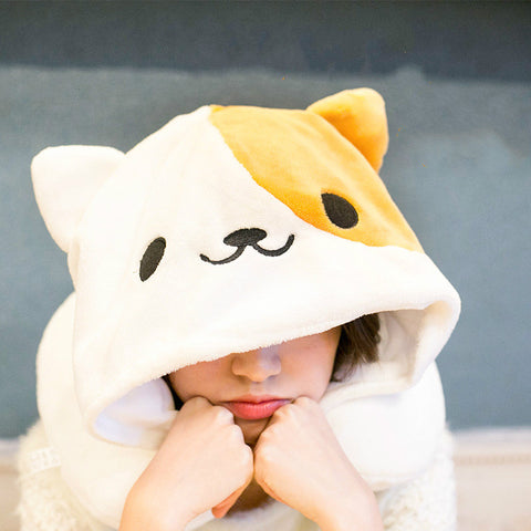 Cute Travel Pillow Cartoon Cat  with Hoodie - Beeredee [variant_title]