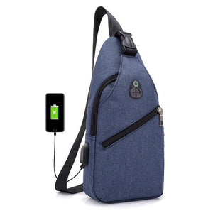 Canvas Shoulder Bag - with usb charger - Beeredee Blue
