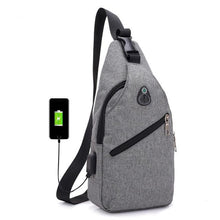 Load image into Gallery viewer, Canvas Shoulder Bag - with usb charger - Beeredee Gray