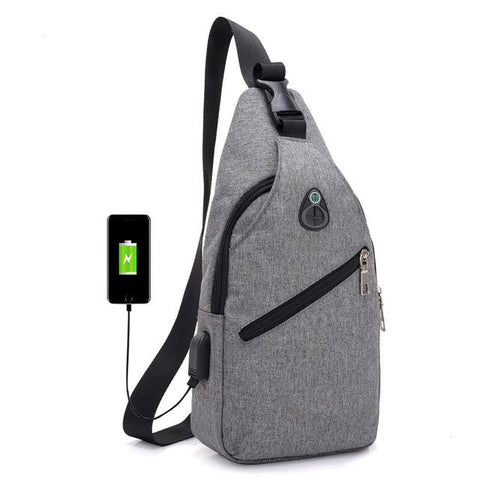 Canvas Shoulder Bag - with usb charger - Beeredee Gray