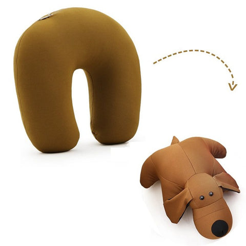 Animal Shape Travel Pillow - Beeredee Coffee puppy