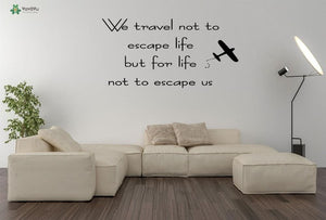 Travelling Quotes Vinyl Wall Stickers - Air Plane - Beeredee Black / 57x29cm