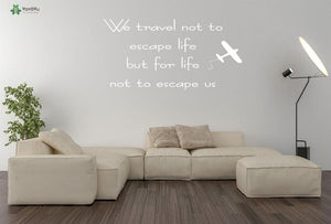 Travelling Quotes Vinyl Wall Stickers - Air Plane - Beeredee White / 57x29cm