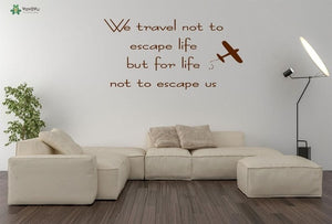 Travelling Quotes Vinyl Wall Stickers - Air Plane - Beeredee Brown / 57x29cm