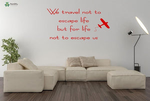Travelling Quotes Vinyl Wall Stickers - Air Plane - Beeredee Fire Red / 57x29cm