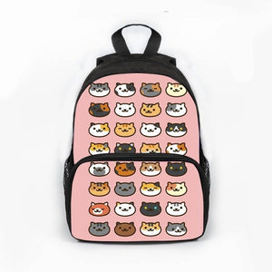 Aoshima -  Kawaii Cat  Backpack - Beeredee differen cats pink background / 13 Inches