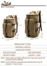 Load image into Gallery viewer, Dakar - Canvas Large Capacity Backpack - Beeredee [variant_title]