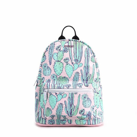 Cactus backpack for women - vegan leather (PU) - Beeredee Light Green