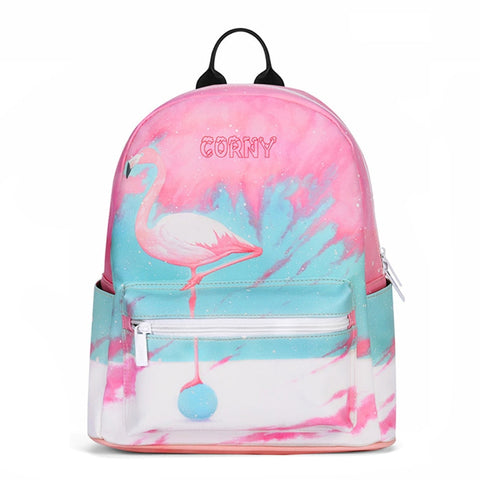 Flamingo / Giraffe Bagpack for women - vegan Leather (PU) - Beeredee [variant_title]