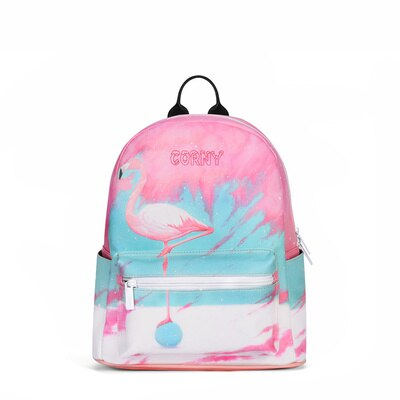 Flamingo / Giraffe Bagpack for women - vegan Leather (PU) - Beeredee Pink Flamingo