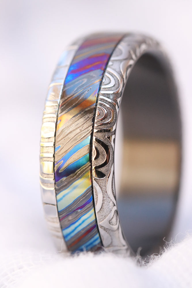 8mm Black Timascus / Mokuti & Stainless Damascus (damasteel)  timascus ring,black timascus ring, mokuti ring, zirconium ring, black ring