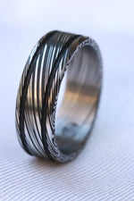 "Damascus ring Stainless steel Damascus ""leaf"" Customizable ring! Dark/ color etch / double grooved damascus steel ring"