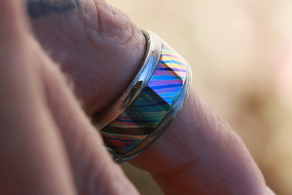 10mm or 8mm Black Timascus / Mokuti & Stainless Damascus (damasteel) zrti timascus ring,black timascus ring, mokuti ring