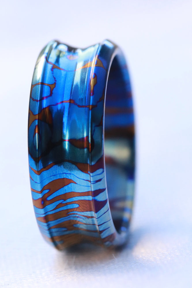 Timascus dragons breathe customizable 8mm ring chamfered edge Solid Titanium damascus ring 5mm-8mm wide timascus ring, mokuti ring (polished finish)