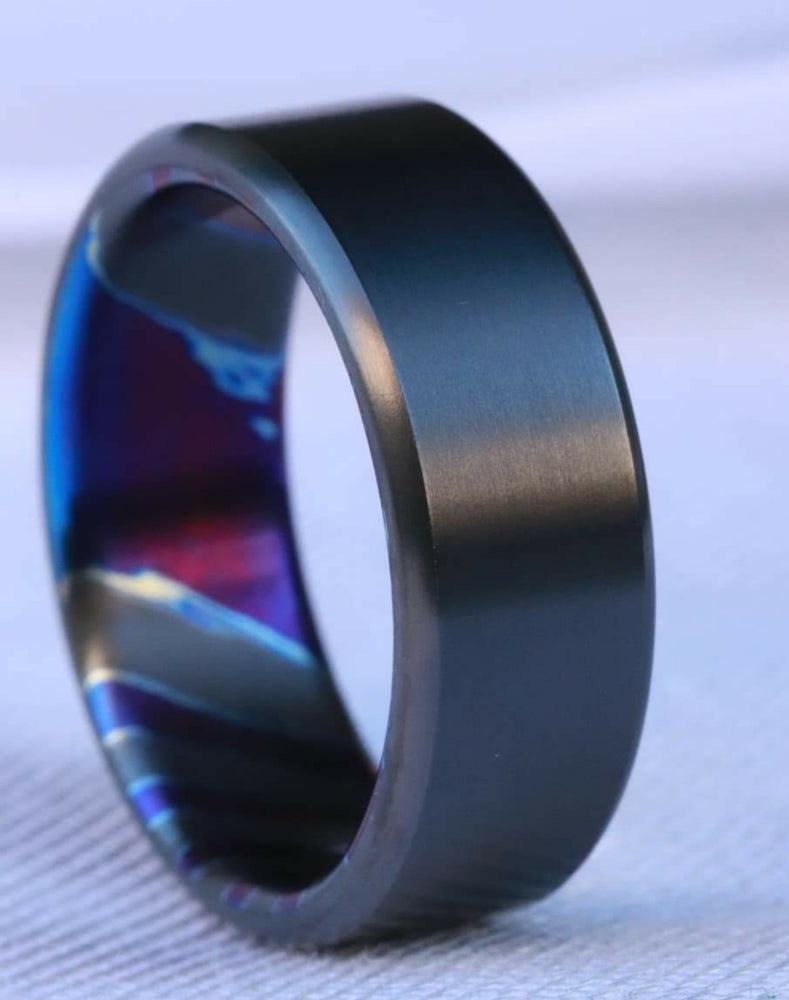 Black titanium 6-8mm zirconium band Black / ZrTi brushed ziconium timascus ring,black timascus ring, mens rings weddingrings, zirconium damascus