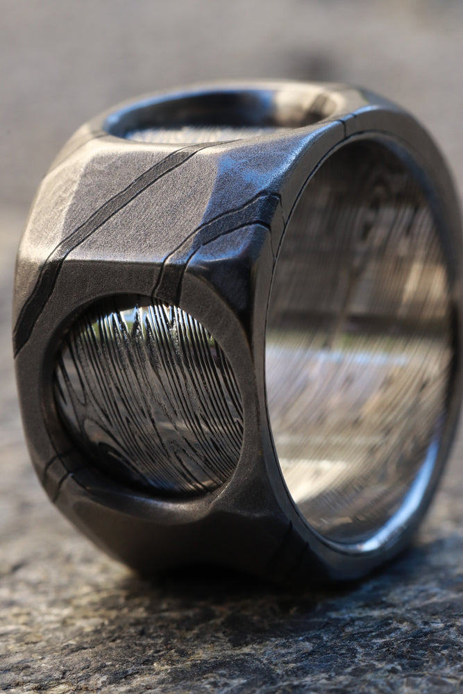 "New* The cube"" Limited Edition Series-12mm Timascus / Mokuti timascus & damasteel  ring,mens ring, mokuti ring, Damascus ring"