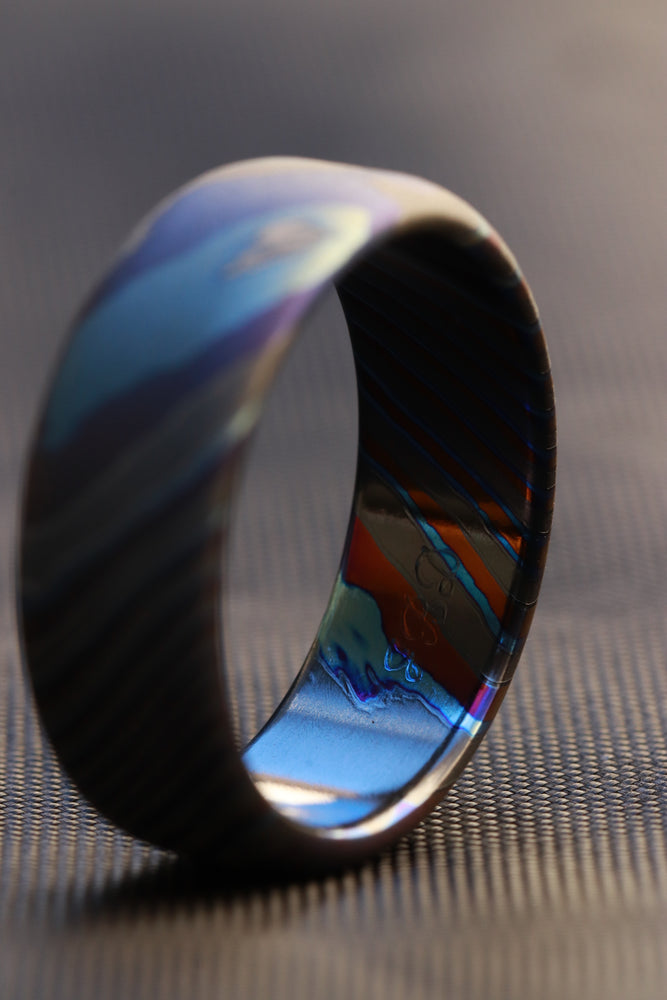 Sand blasted LIMITED EDITION*** rolled edge 8mm Black Timascus zrti ring 3mm-9mm wide timascus ring, mokuti ring 8mm ring black timascus ring