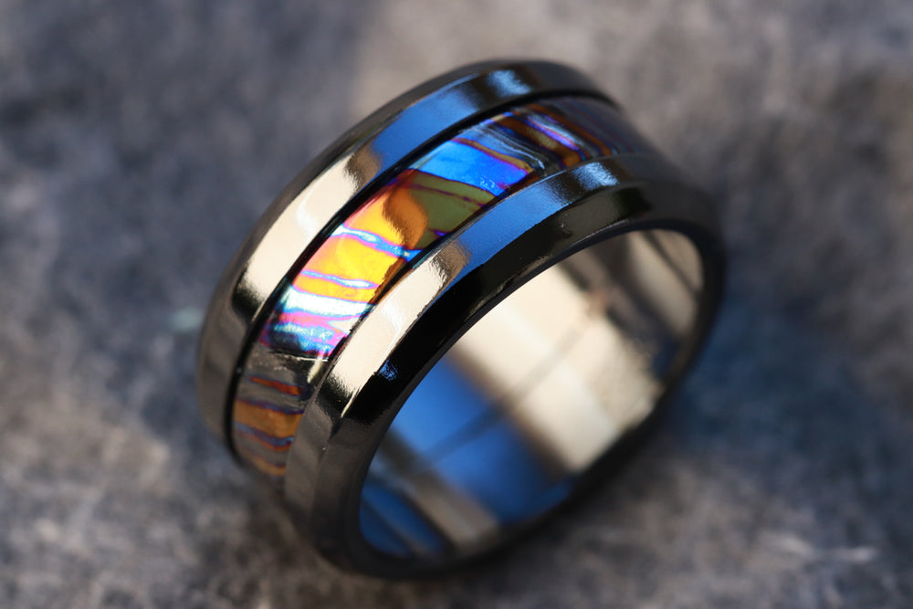 "Grayson BLK"" Limited Edition Series-10.75mm titanium damascus Timascus / Mokuti timascus & black titanium ring, black timascus ring, mokuti ring"