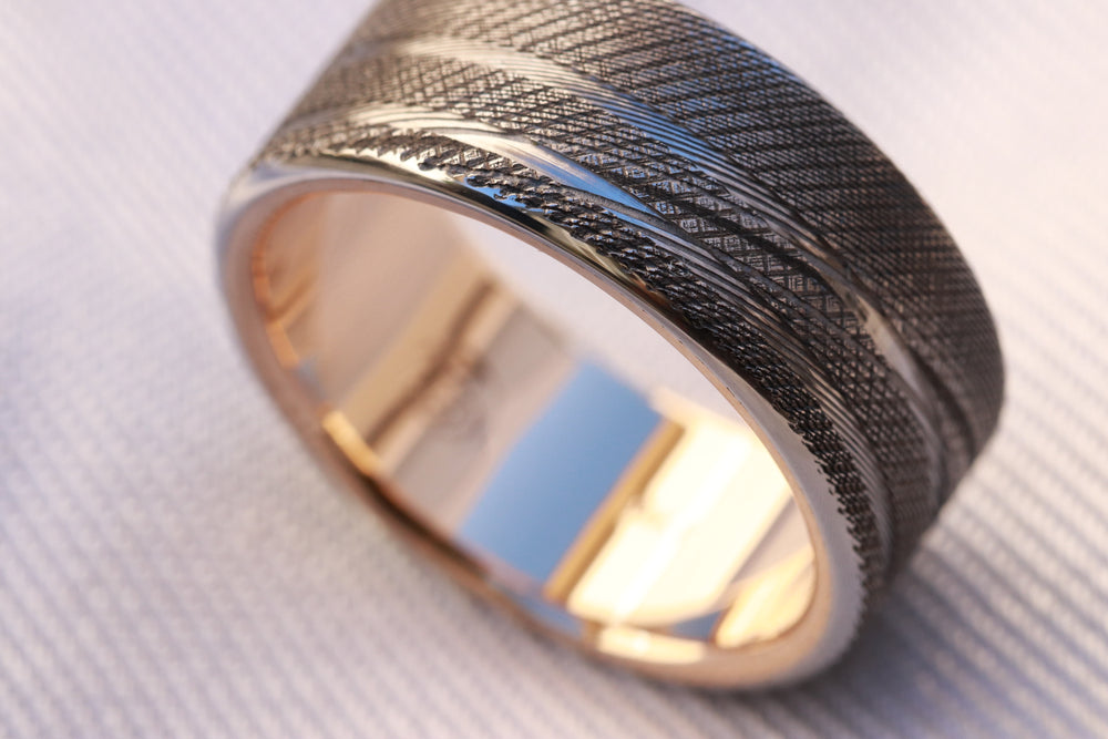 Yellow Gold & Stainless Damascus 10mm (Customizable band)