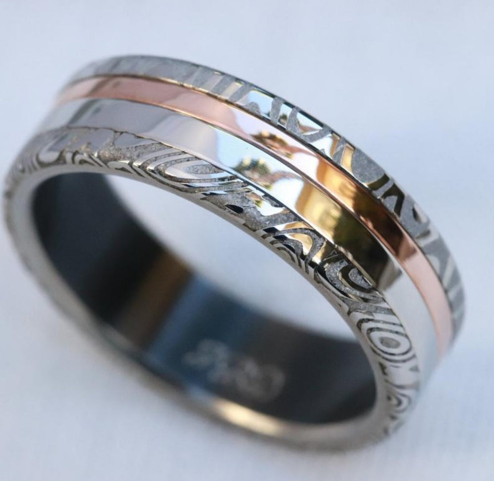 Platinum & rose gold and damasteel stainless damascus Zirconium lined 14k or 18k customizable ring mens wedding bands Gold rings