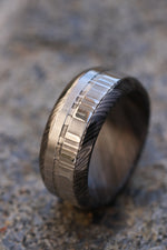 Black titanium zrti & damasteel ring 9mm wide customizable