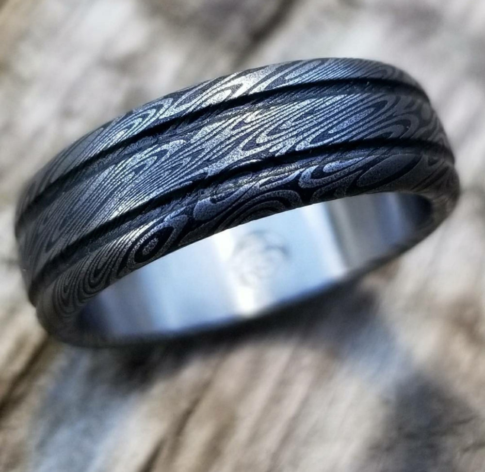 "Stainless Damascus ""coral"" Customizable ring! Dark/ color etch / double grooved damascus steel ring"