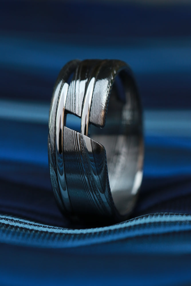 """One"" hybrid Damascus steel ring ""WOODGRAIN"" ring! Stainless Damasteel ring mens wedding bands woodgrain pattern damascus"