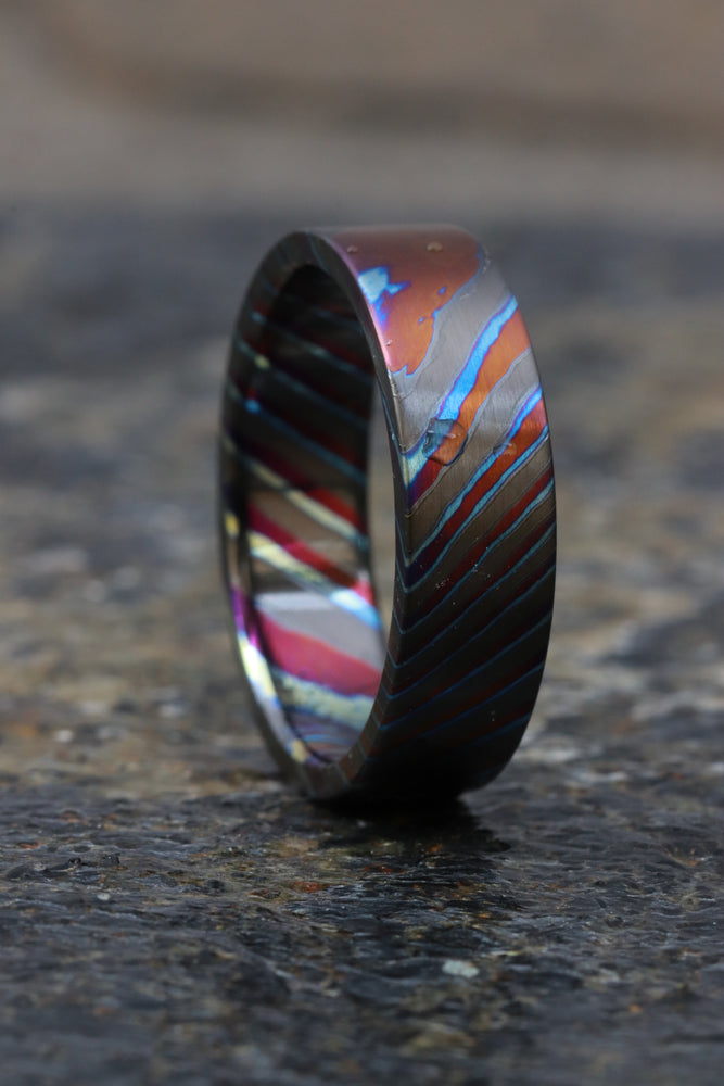 LIMITED EDITION customizable 6mm ring boxed edge Solid Black Timascus ring, mokuti ring (satin finish) colorful ring, zrti ring, titanium