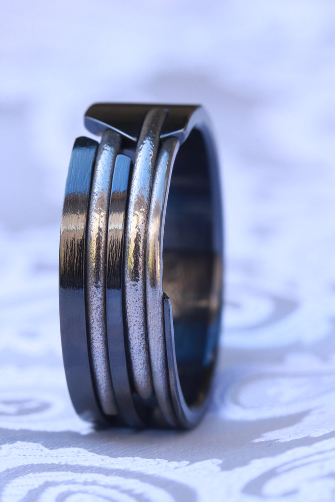 """QUILL"" handmade black titanium ring (not casted)"