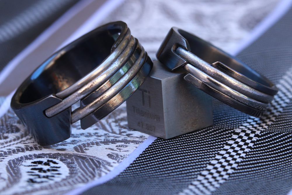 Ring set - QUILL handmade two black titanium rings (not casted)