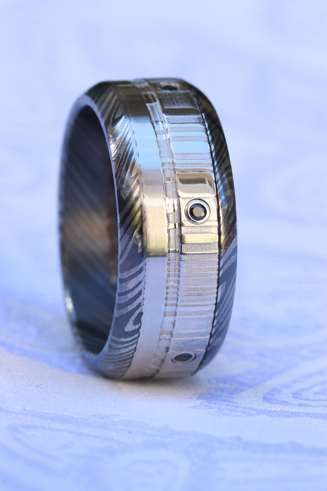 Black diamonds and black titanium zrti & damasteel ring 9mm wide customizable