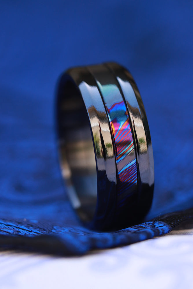"8mm Grayson BLK"" Limited Edition Series titanium damascus Timascus / Mokuti timascus & black titanium ring, black timascus ring, mokuti ring"