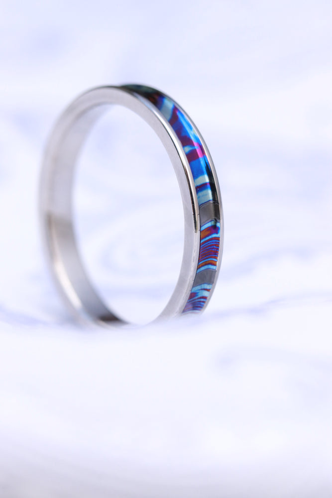 Channel ZrTi ring 2mm - 7mm wide timascus zrti ring