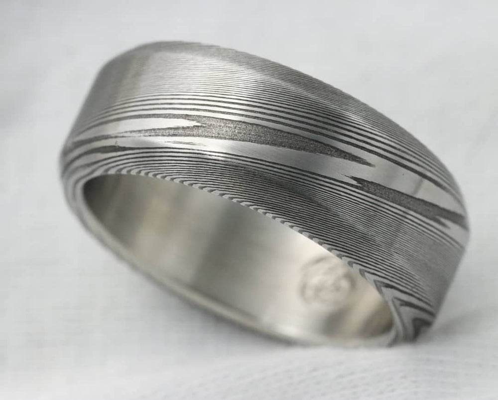 "Damascus ring Stainless Damascus chamfered cut square ring""WOODGRAIN"" Damascus steel damasteel ring mens wedding band 8mm ring"