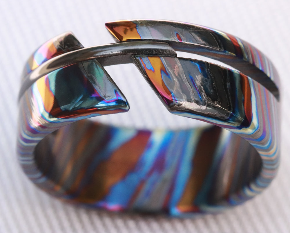 NEW ZRTI HYBRID*** Black Timascus ring 9mm , timascus ring, mokuti ring, colorful ring, hypoallergenic jewelry, Zirconium ring, mokuti ring