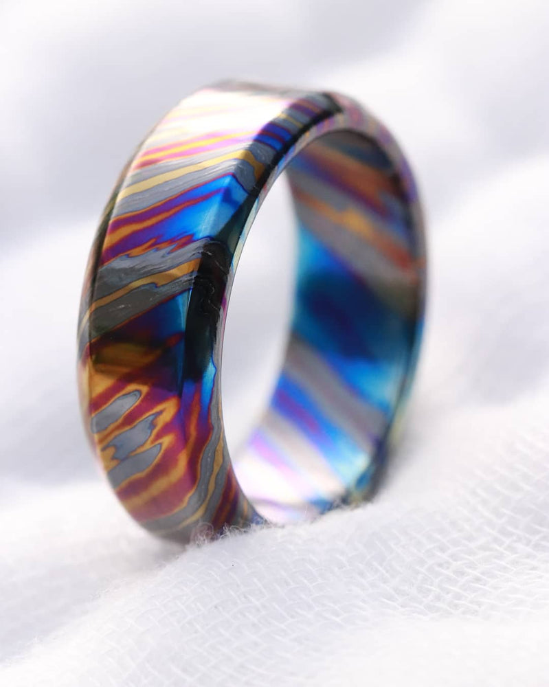 LIMITED EDITION customizable 9mm ring chamfered edge Solid Black Timascus ring 3mm-9mm wide timascus ring, mokuti ring (polished finish)