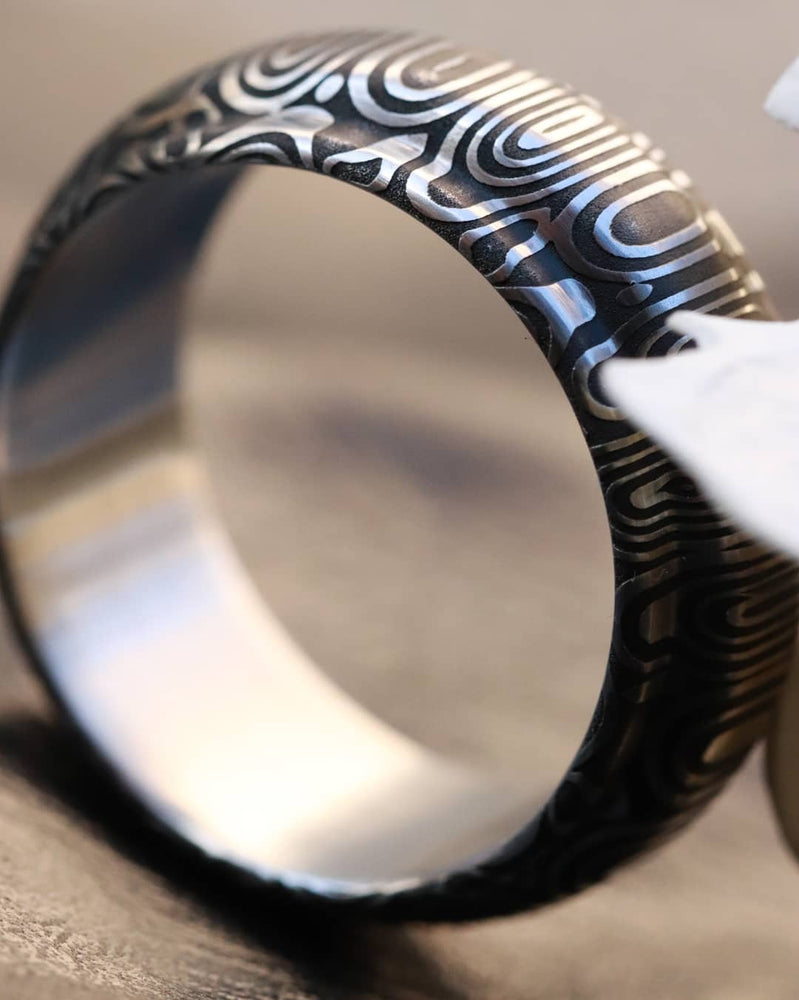 "Damascus steel ring ""traditional"" Mens stainless damasteel wedding band, mens rings, hypoallergenic"