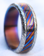 *Limited 5 alloy ZrTi 8mm Black Timascus / Mokuti & Stainless Damascus (damasteel) zrti timascus ring,black timascus ring, mokuti ring