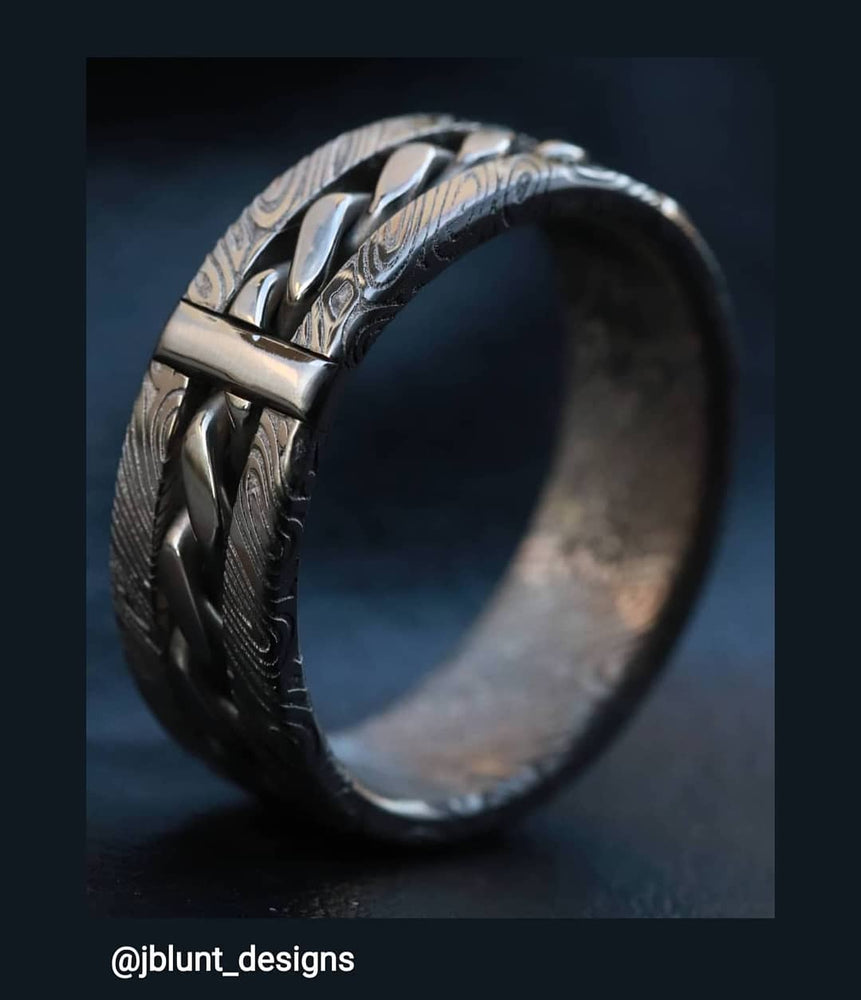 "Hybrid ""BREGDAN"" handmade braided ring, stainless steel damasteel damascus curb chain ring (not casted) celtic rings braided rings"