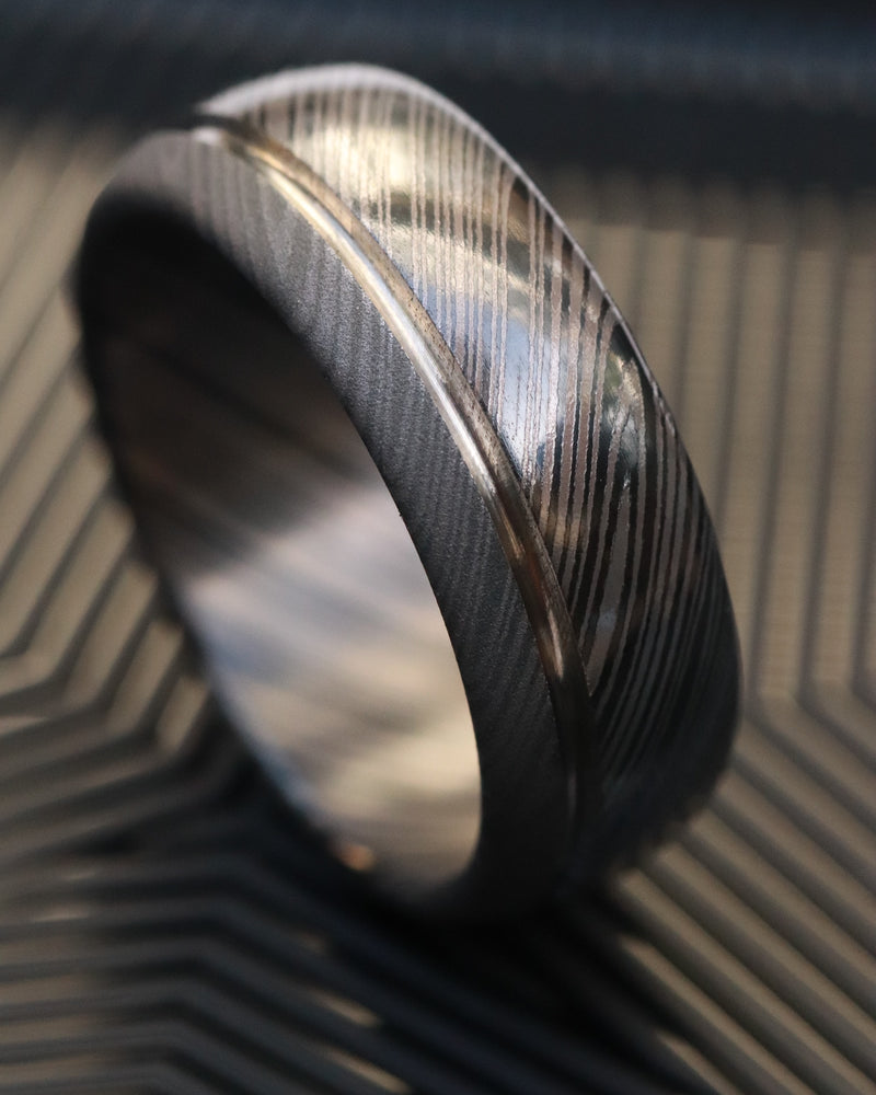 Black titanium ring 8mm wide  zirconium/black titanium domed, 3 tone ring