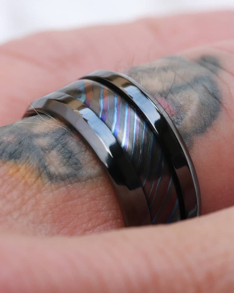 "Grayson BLK"" Limited Edition Series-10.25mm titanium damascus Timascus / Mokuti timascus & black titanium ring, black timascus ring, mokuti ring"