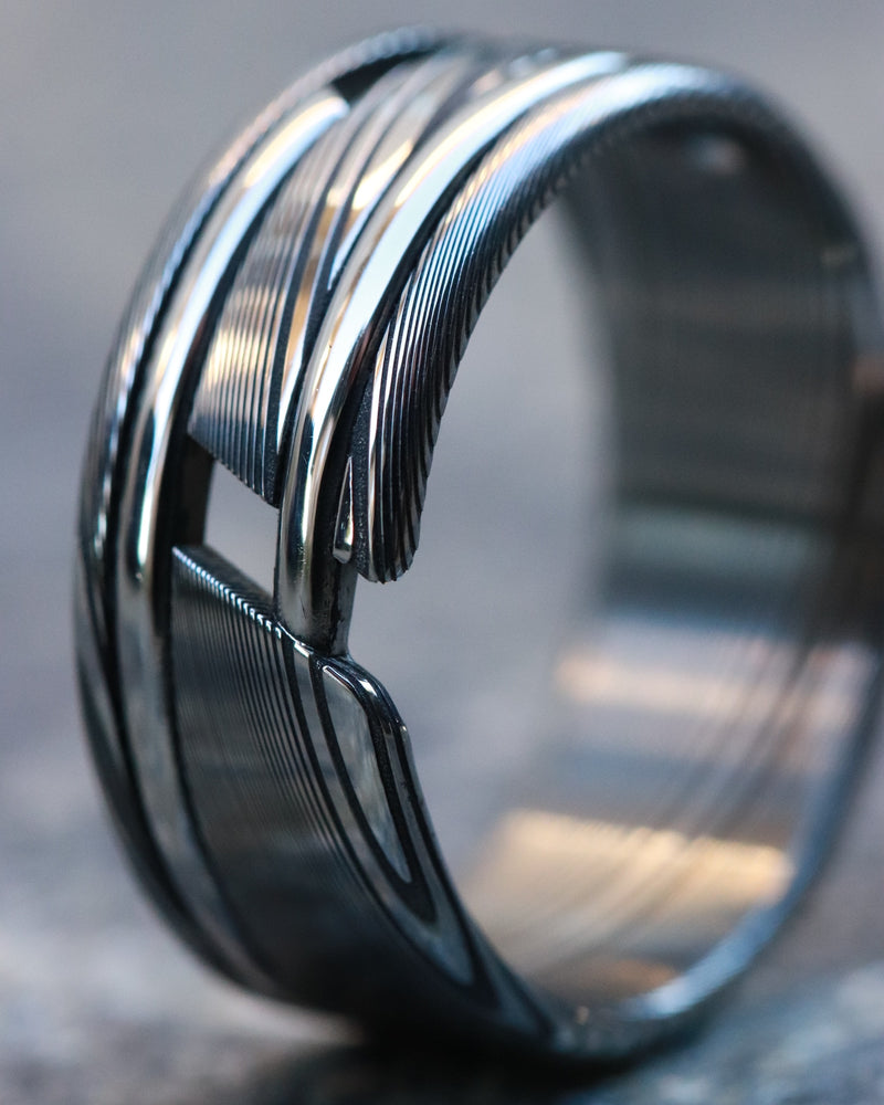Hybrid stainless damasteel band