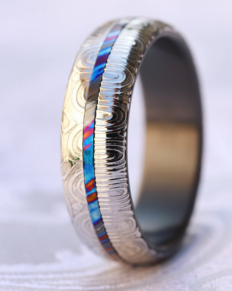 Ring set 7mm & 5mm customizable  Black Timascus / Mokuti & Stainless Damascus (damasteel)  timascus ring,black timascus ring, mokuti ring, zirconium rings