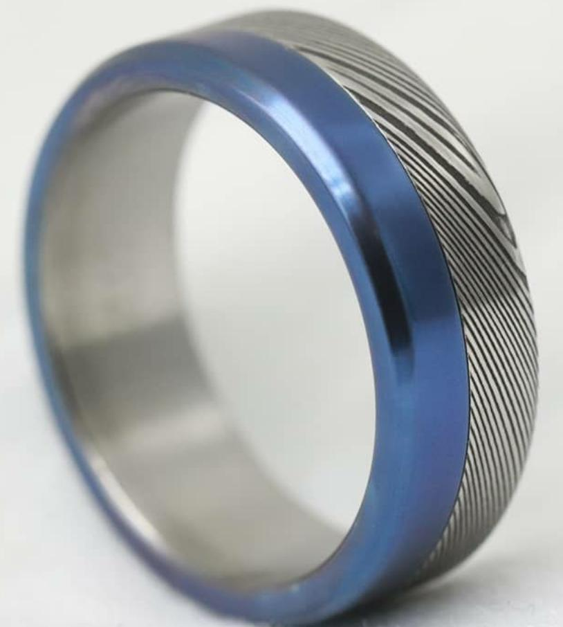 Reserved for 9mm / Zr brushed - titanium lined blue