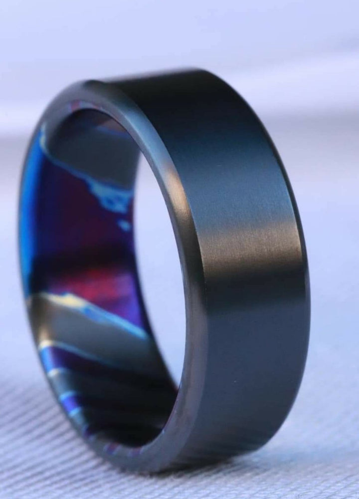 6-8mm zirconium band Black / ZrTi brushed ziconium timascus ring,black timascus ring, mens rings weddingrings, zirconium damascus