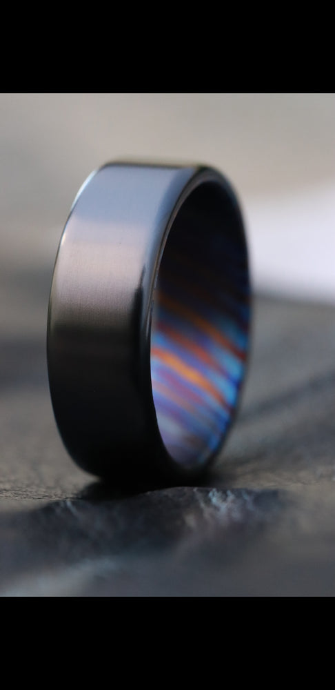 Chamfered edge - Black titanium 6-8mm zirconium band Black / ZrTi brushed ziconium timascus ring,black timascus ring, mens rings weddingrings, zirconium damascus