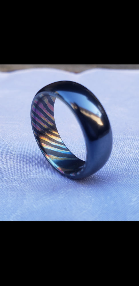 6-8mm black titanium / ZrTi , black timascus