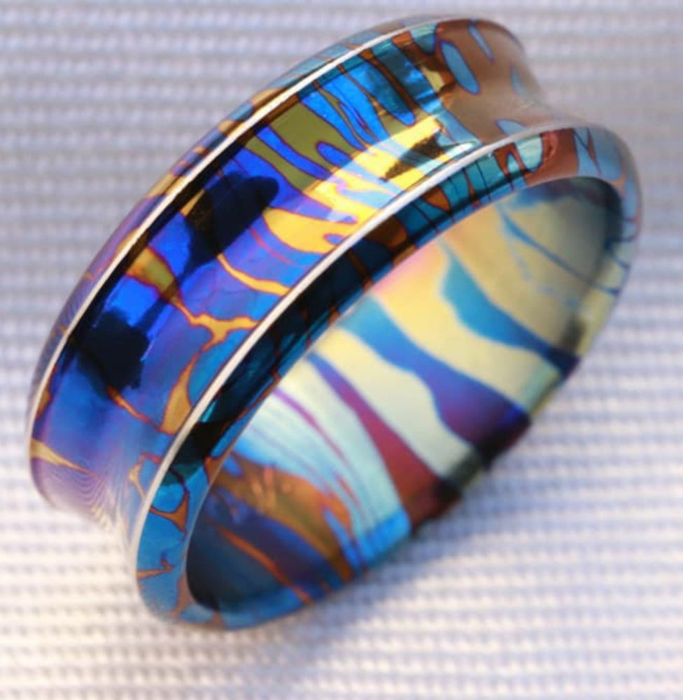 Reserved for Dominic only : Timascus dragons breathe customizable 8mm ring chamfered edge Solid Titanium damascus ring 5mm-8mm wide timascus ring, mokuti ring (polished finish)