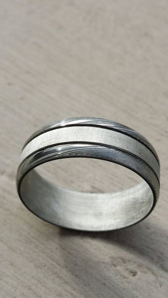 "8mm damascus stee ring Stainless steel Damascus ""WOODGRAIN"""