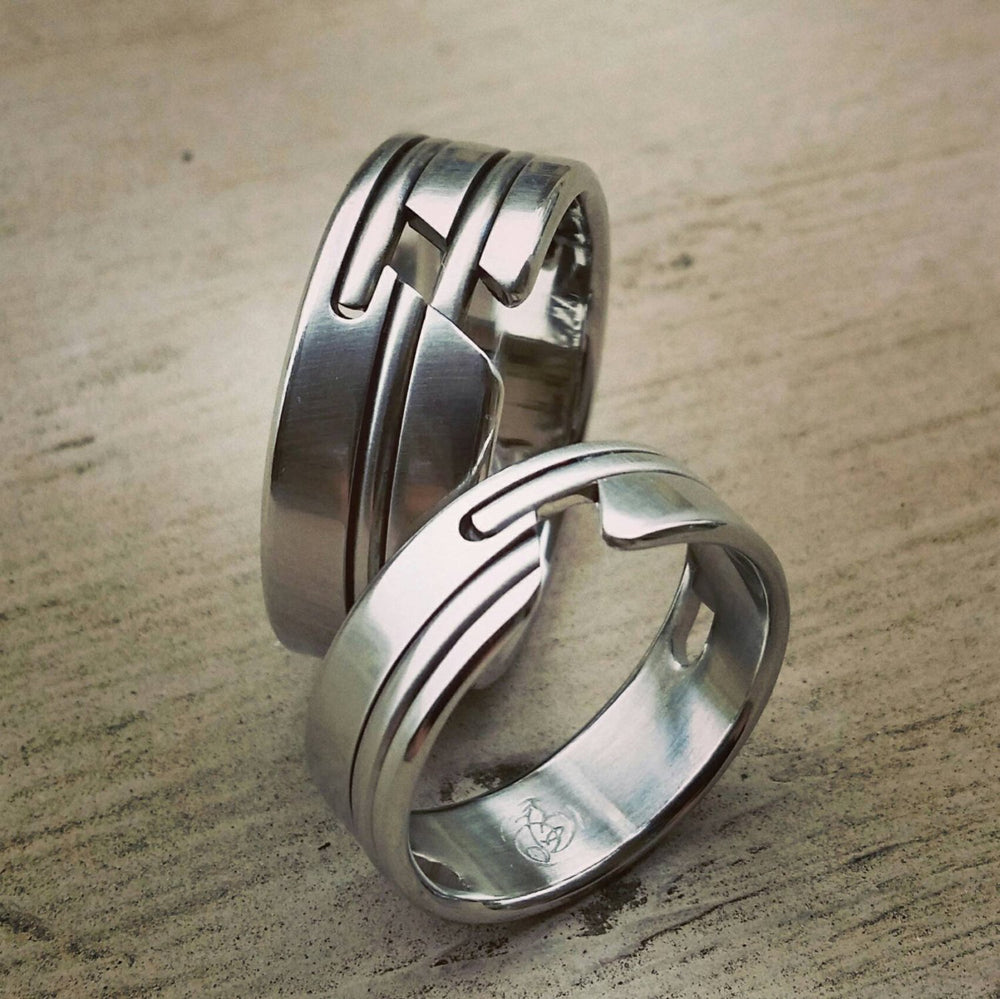 "His & Her's ""OAK"" set wedding set hypoallergenic handmade stainless steel ring limited edition collection ring set his and hers wedding band"